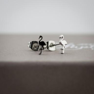 Coppia di micro orecchini fenicottero in acciaio inox