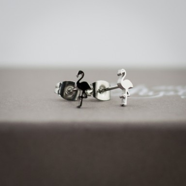 Pair of stainless steel micro flamingo earrings