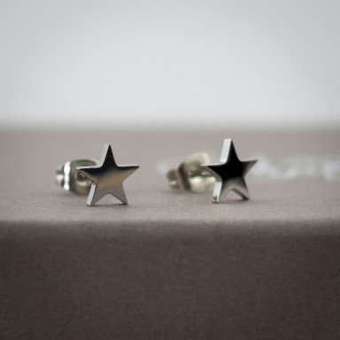 Pair of shiny stainless steel micro earrings
