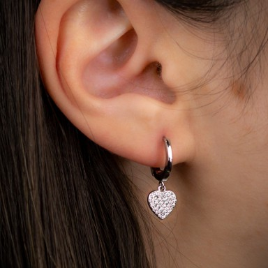 Single earring 925 silver pink smooth heart