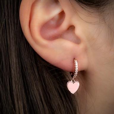 Cerchietto singolo argento 925 rosa con cuore smaltato rosa