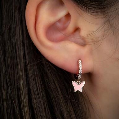 Cerchietto singolo argento 925 rosa con farfalla smaltata rosa