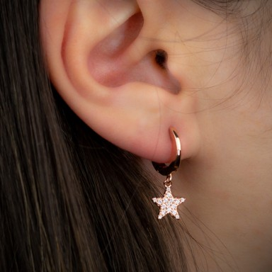 Cerchietto singolo argento 925 rosa con stella con zirconi