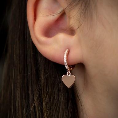 Orecchino singolo argento 925 rosa cuore liscio