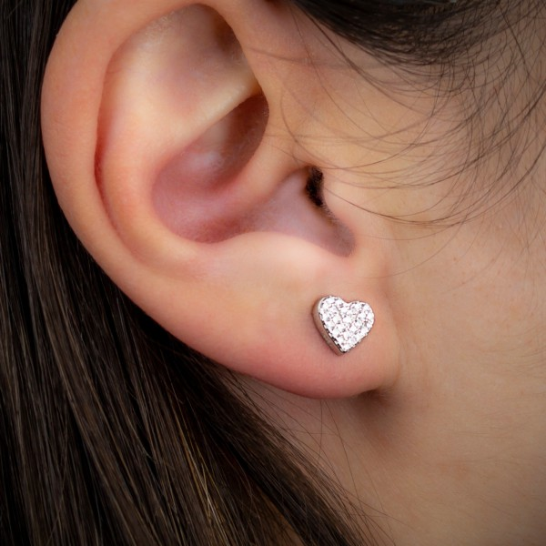 Orecchino singolo argento 925 cuore con zirconi