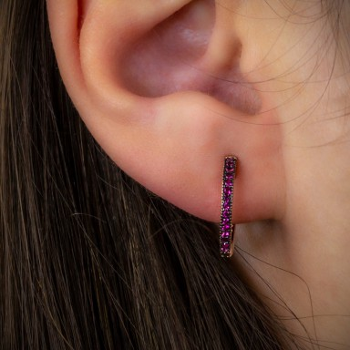 Single pink 925 silver headband with ruby zircons