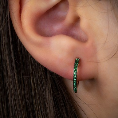 Single pink 925 silver headband with green cubic zirconia