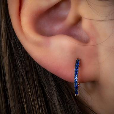 Cerchietto singolo argento 925 rosa con zirconi blu