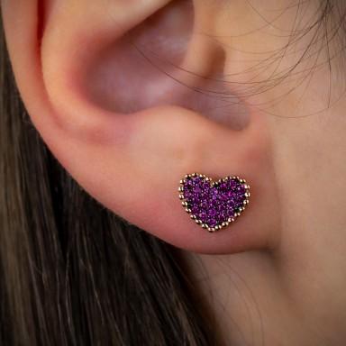 Orecchino lobo singolo argento 925 rosa cuore con zirconi color rubino