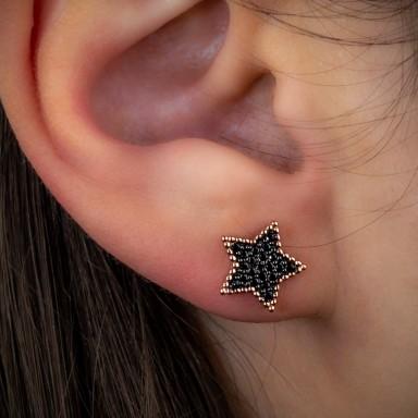 Orecchino lobo singolo argento 925 rosa stella con zirconi neri