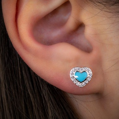 Single lobe earring 925 silver rhodium with blue heart and zircons