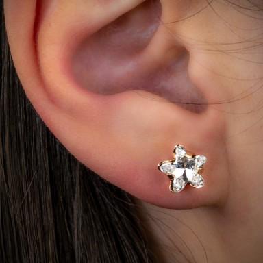 Single lobe earring 925 silver star pink with swarovski
