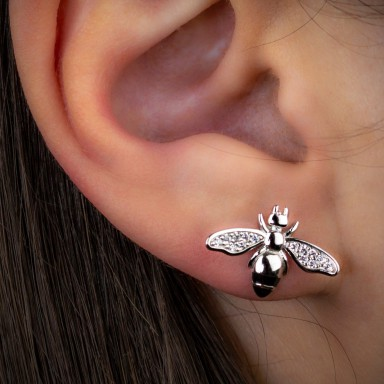 Single lobe earring, 925 rhodium silver, bee with black zircons