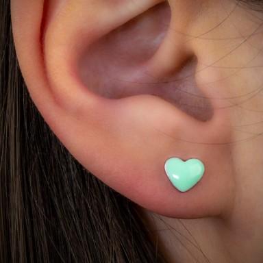 Single lobe earring in 925 silver with tiffany enamel heart