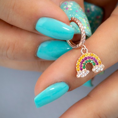 Cerchietto singolo argento 925 rosa con arcobaleno