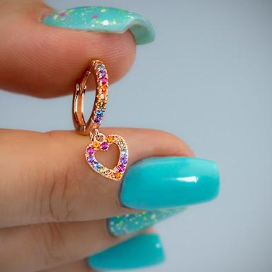 Cerchietto singolo argento 925 rosa con cuore rainbow