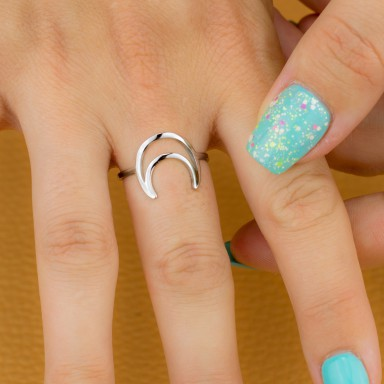 Adjustable moon ring in stainless steel