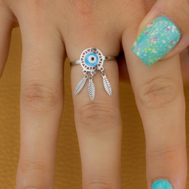 Adjustable eye and feathers ring in stainless steel