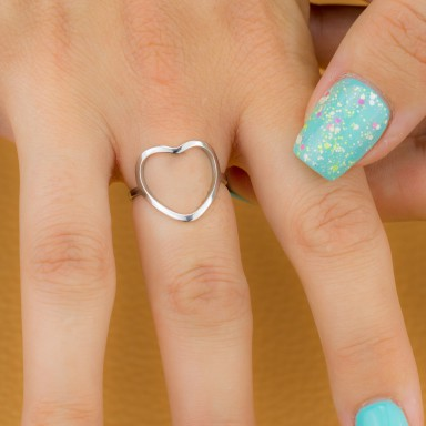 Adjustable stainless steel heart ring