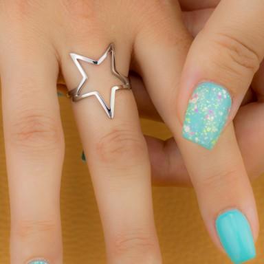 Anello regolabile stella bucata in acciaio inox