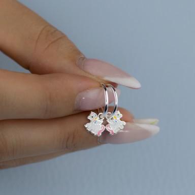 Coppia di orecchini cerchietto unicorno rosa in argento 925
