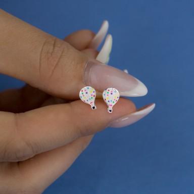 Pair of 925 silver hot air balloon earrings