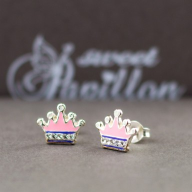 Pair of pink crystal crowns earrings in 925 silver