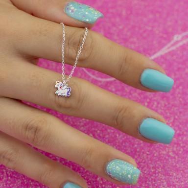 Collana micro unicorno viola e rosa piccolo in argento 925