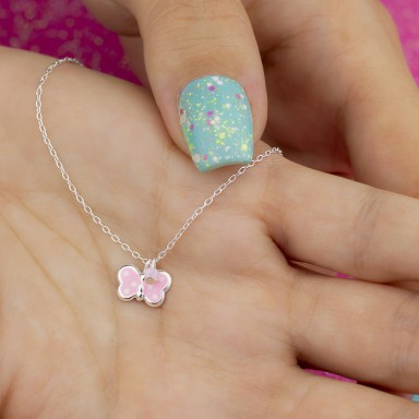Pink butterfly necklace in 925 silver