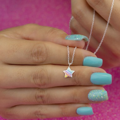 Rainbow star necklace in 925 silver