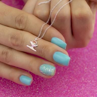 Collana ginnasta rosa salto in argento 925