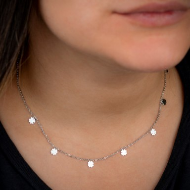 Choker with micro stainless steel four-leaf clovers