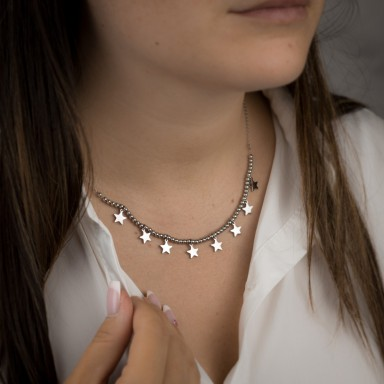 MILANO star necklace with bead in stainless steel
