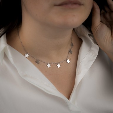 Necklace with hanging stars model FORTE DEI MARMI in stainless steel