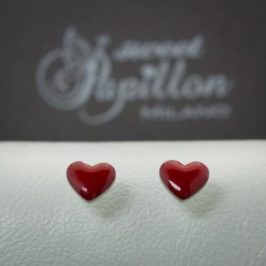 Pair of red heart micro earrings in stainless steel