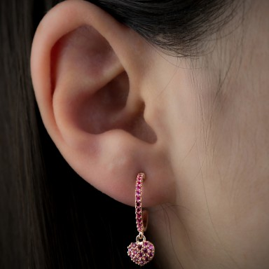 Hoops earring with ruby zircon in 925 silver