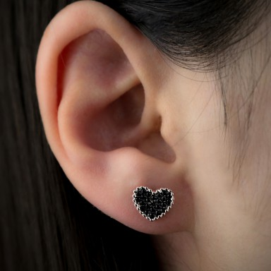 Heart earring black in silver 925