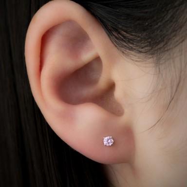 Orecchino punto luce in argento 925 con zircone rosa