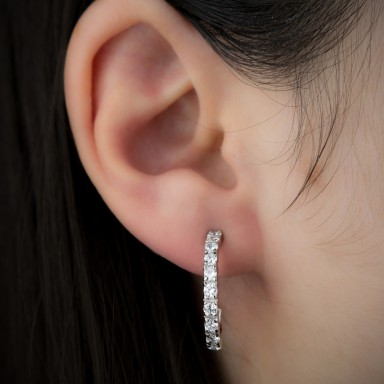 Big half hoops with white zircon in silver 925