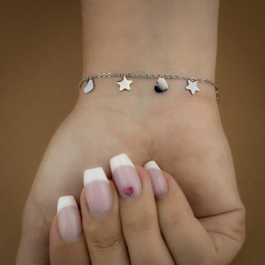 Bracelet with micro stars and hearts in stainless steel