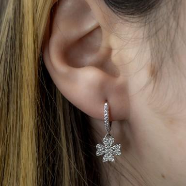 Single 925 silver four-leaf clover earring