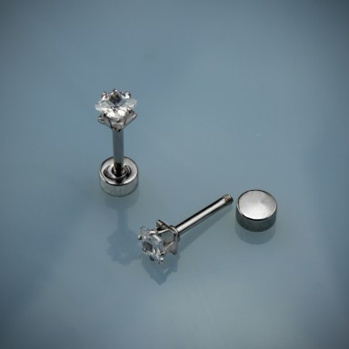 Single square zircon piercing 0,3 cm in stainless steel