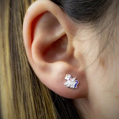 Coppia di orecchini unicorno viola in argento 925