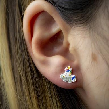 Coppia di orecchini unicorno con nuvoletta glitter in argento 925