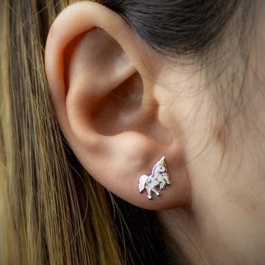 Coppia di orecchini unicorno rosa in argento 925