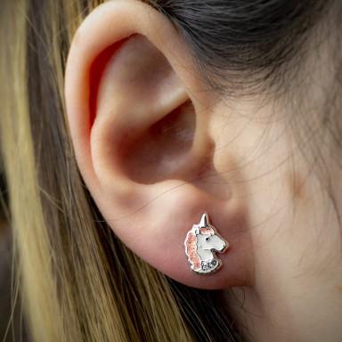 Coppia di orecchini testina unicorno rosa glitter in argento 925