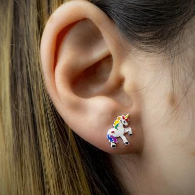 Coppia di orecchini unicorno colorati in argento 925