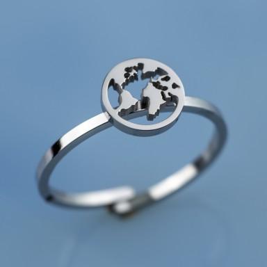 Anello mondo piccolo regolabile in acciaio inox