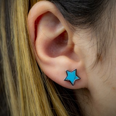 Pair of turquoise star earrings in steel