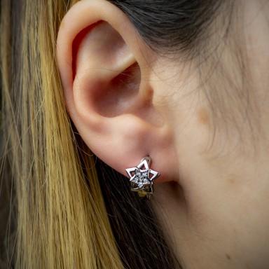 Pair of hoop earrings with stainless steel star